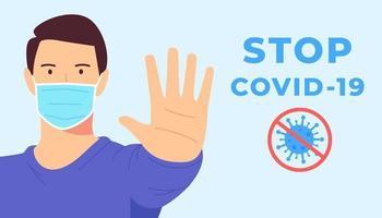 coronavirus, covid, ncov, stop, concetto di protezione della salute. protezione dall'illustrazione del coronavirus. l'uomo con la maschera facciale si ferma 2019ncov, covid 2019. quarantena medica. sicurezza sanitaria preventiva. vettore