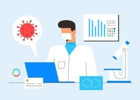 ricerca di laboratorio chimico. concetto di scoperta del vaccino. scienziato, microscopio e computer che lavorano allo sviluppo di trattamenti antivirali. illustrazione vettoriale in stile cartone animato piatto