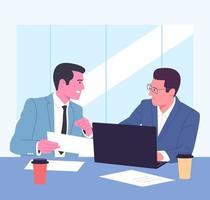 coworking, squadra, formazione, discussione, concetto di business. squadra giovani imprenditori, colleghi colleghi colleghi che parlano lavorando insieme. lavoro di squadra e riunione d'ufficio. vettore