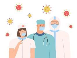 salvare i pazienti dall'epidemia di coronavirus e combattere il coronavirus. epidemia di coronavirus. grazie medici e infermieri che lavorano negli ospedali e combattono il coronavirus, illustrazione vettoriale. vettore