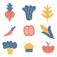 raccolta di verdure. pomodoro, carota, broccoli, mais dolce, funghi, cipolla. elementi di design di cibo fresco disegnati a mano isolati su sfondo bianco. illustrazione vettoriale