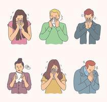 concetto di coronavirus. persone con malattia virale impostare il concetto. un gruppo di giovani uomini e donne ha gravi malattie virali. ragazzi e ragazze allergici tossiscono e starnutiscono usando fazzoletti e gocce per il naso. vettore