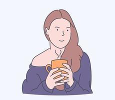 tempo del caffè, relax, concetto accogliente. giovane donna o ragazza gode di avere un caffè al mattino. illustrazioni di disegno vettoriale stile disegnato a mano.