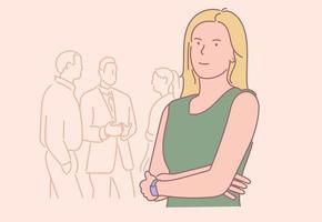 affari, donna manager nel concetto di ufficio. giovane personaggio dei cartoni animati sorridente felice imprenditrice di successo impiegato. capo azienda leader guardando l'illustrazione della fotocamera. vettore