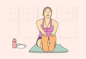 sport, yoga, concetto di fitness. giovane atleta ragazza donna felice nel personaggio dei cartoni animati di abbigliamento sportivo fa allenamento facendo stretching e sorridente. stile di vita attivo e assistenza sanitaria per il corpo vettore