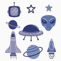 set di pianeti alieni di fantasia del fumetto, elementi divertenti per un altro design di universo. alieni e oggetti vettoriali ufo isolati su sfondo bianco. bella collezione cosmica per tessuti, custodia per telefono