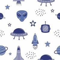 costellazione della galassia spaziale senza cuciture. razzo, pianeti, alieni, ufo, sole, luna, cometa e stelle su sfondo bianco. la stampa potrebbe essere utilizzata per tessuti, tappetino yoga zodiacale, custodia per telefono vettore