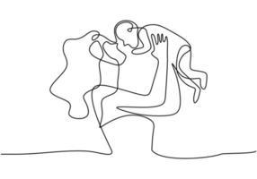 continuo un disegno a tratteggio di una donna che tiene il suo bambino. carta di felice festa della mamma. giovane bella madre abbraccia il suo bambino mostrando il suo amore isolato su sfondo bianco. illustrazione vettoriale