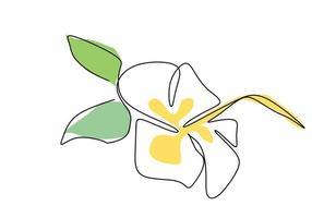 fiore di bellezza fresca uno stile di disegno a tratteggio continuo. bellissimo fiore decorativo stampabile per il disegno disegnato a mano dell'icona del parco. natura vegetale ecologia vita concetto di bellezza. illustrazione di disegno vettoriale