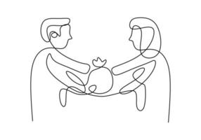 disegno a tratteggio continuo delle mani che danno un regalo. la mano della donna dà un pacco per ringraziare la mano dell'uomo isolato su priorità bassa bianca. concetto di ringraziamento. stile minimalista. illustrazione vettoriale