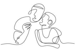 giovane tiene tra le braccia un bambino continuo un disegno a tratteggio. un ragazzino lo bacia in risposta. personaggio un bambino ragazzo bacia un papà. buona festa del papà. illustrazione vettoriale. design minimalista vettore