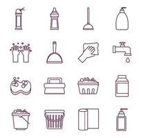 set di icone di servizio di pulizia vettore