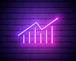 Insegna al neon del grafico aziendale Insegna al neon grafica isolata sul fondo del muro di mattoni vettore