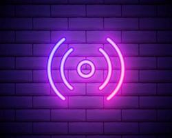 logo realistico dell'insegna al neon isolato di vettore per la decorazione e la copertura sui precedenti della parete. concetto di social media e streaming di studi cinematografici