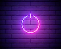 pulsante di accensione blu incandescente neon ui ux icona. segno incandescente logo vettoriale isolato su un muro di mattoni