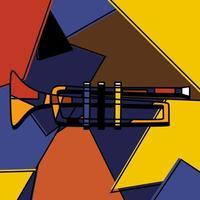 strumento a tromba in stile cubista dipinto a mano in stile minimalista. strumento di musica classica di sfondo colorato. suonare la tromba. arte astratta della musica jazz. illustrazione di disegno vettoriale