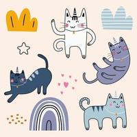 simpatico cartone animato infantile gatto. meditando gatti in posa yoga. design in stile semplice a colori piatti. insieme di elementi vettoriali. disegno scandinavo per stampa tessile di moda per neonati, bambini e bambini. vettore