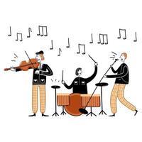 illustrazione vettoriale di concerto del festival jazz. banda di personaggi musicista piatto dei cartoni animati che suona musica jazz al concerto dal vivo. musicista che suona il tamburo, violino. divertirsi con la musica. hobby e professione