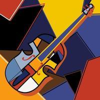 disegno fatto a mano in stile cubista moderno di violoncello. musica jazz in stile retrò astrazione geometrica. strumento di musica classica. tema dello strumento di musica classica. illustrazione di disegno di arte vettoriale