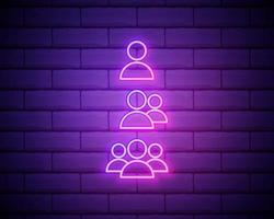 icona di luce al neon silhouette maschile. signori wc porta segno incandescente. grande magazzino di abbigliamento maschile. illustrazione vettoriale isolato isolato sul muro di mattoni