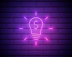lampadina al neon incandescente con icona simbolo del dollaro isolato su priorità bassa del muro di mattoni. idee per fare soldi. concetto di innovazione fintech. illustrazione vettoriale