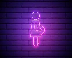 insegna al neon della donna incinta. simbolo luminoso luminoso su uno sfondo di muro di mattoni. icona di stile al neon. vettore