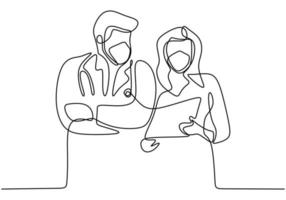 disegno a tratteggio continuo di due medici che indossano una maschera facciale che discutono di covid-19. i medici della donna che parlano con il partner spiegano qualcosa con la carta. squadra medica professionale combatte il coronavirus. vettore