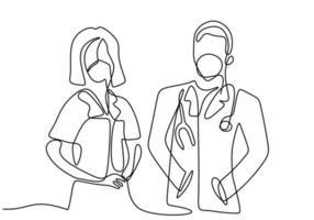 un unico disegno a tratteggio di medico professionista e infermiere in maschera facciale in piedi in posa insieme. lavoro di squadra medico per contro il coronavirus isolato su sfondo bianco. stile minimalista. vettore