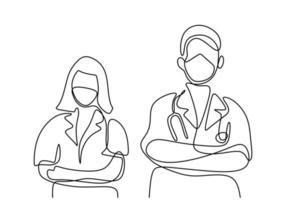 un unico disegno a tratteggio del dottore e dell'infermiera che indossano la maschera e posano in piedi e mettono la croce davanti al petto. concetto di lavoro di squadra medico. design minimalista. illustrazione vettoriale