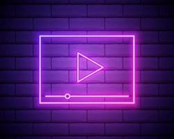 interfaccia al neon del lettore video, illustrazione vettoriale isolato. lettore video incandescente segno isolato su sfondo muro di mattoni.