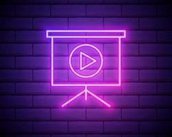lavagna con icona al neon di presentazione. semplice linea sottile, contorno vettoriale di icone web per ui e ux, sito Web o applicazione mobile isolato sul muro di mattoni.
