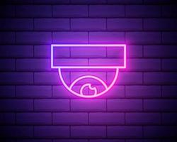 linea al neon incandescente controllo wireless icona telecamera di sicurezza cctv isolato su priorità bassa del muro di mattoni. concetto di iot e elettrodomestico remoto. illustrazione vettoriale