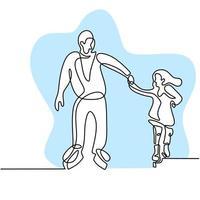 disegno a tratteggio continuo di papà e figlia che giocano a pattinaggio su ghiaccio sull'arena della pista di pattinaggio su ghiaccio isolato su priorità bassa bianca. divertente sport invernale concetto disegnato a mano schizzo stile minimalista. illustrazione vettoriale