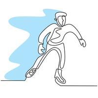 disegno a tratteggio continuo dell'uomo di pattinaggio. giovane maschio che gioca pattinaggio sul ghiaccio sull'arena della pista di pattinaggio sul ghiaccio isolata su fondo bianco. divertente sport invernale concetto disegnato a mano schizzo stile minimalista. illustrazione vettoriale