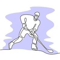 un disegno a tratteggio continuo del giocatore professionista di hockey su ghiaccio ha colpito il disco e attacca all'arena della pista di pattinaggio su ghiaccio isolato su priorità bassa bianca. giovane uomo sportivo in azione per giocare un gioco competitivo vettore