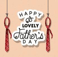 banner di celebrazione del giorno di padri con disegno vettoriale di cravatte