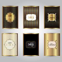 Modelli di opuscoli eleganti d'oro vettore