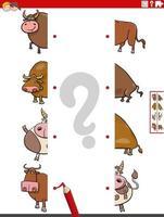abbina metà delle immagini con il gioco educativo dei tori dei cartoni animati vettore