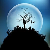 Spettrale albero di Halloween contro la luna vettore