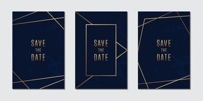 collezione di carte invito a nozze con sfondo di trama di marmo blu e dorato di lusso vettore