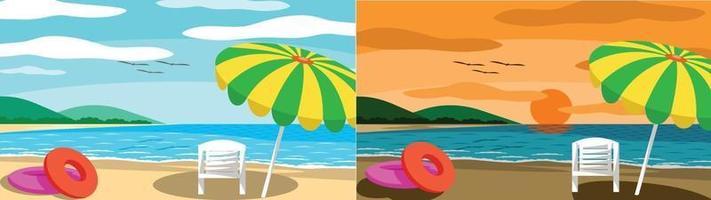 due scene di spiaggia con ombrelloni e sdraio vettore