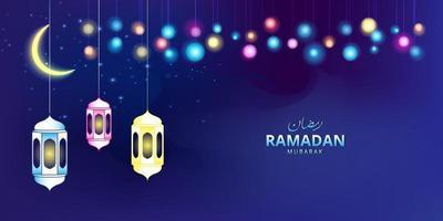 banner festival di ramadan con cielo notturno e illustrazione della lampada vettore