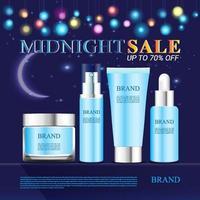 promozione banner per prodotti cosmetici di vendita di mezzanotte vettore