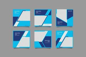 pacchetto di modelli di post sui social media di marketing aziendale blu vettore