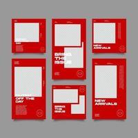 modello di kit di bundle streetwear rosso per social media vettore
