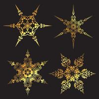 Disegni di fiocchi di neve dorati vettore