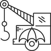 icona linea per l'assicurazione dell'attrezzatura vettore