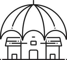 icona linea per l'assicurazione sulla proprietà commerciale vettore