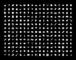 cibo bianco glifo icone impostate per la modalità oscura vettore