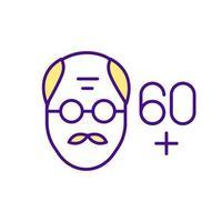 volto dell'uomo nell'icona di colore dell'età adulta vettore